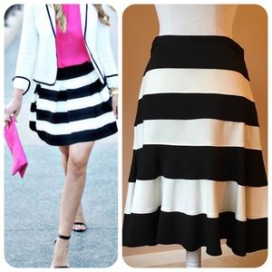 Spense Black/Ivory Striped Flare Skirt